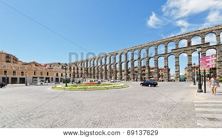 Ancient Roman Aqueduct Of Segovia, Spain