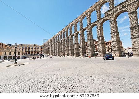 Square Azoguejo With Aqueduct Of Segovia