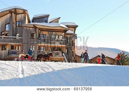 Ski Children School In Avoriaz Town In Alps