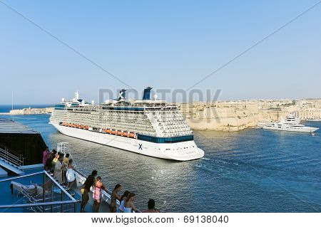 Cruise Liners In Grand Harbour, Port In Valletta