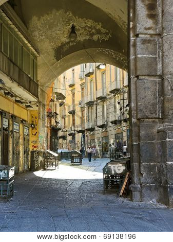 Arch And Street In Old City Of Naples, Italy
