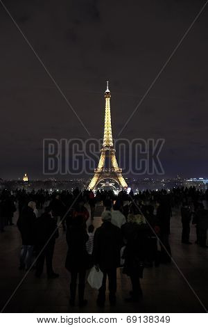 Tourist On Champ De Mars In Night
