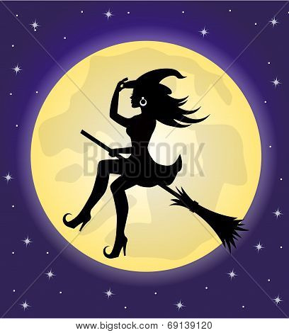 witch on a broomstick on the background of the moon