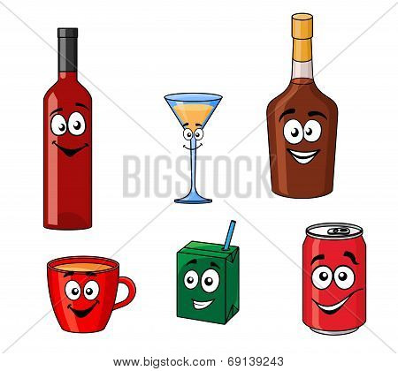 Cartoon set of assorted beverages or drinks