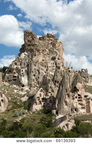 view of Uchisar castle in Cappadocia. Turkey