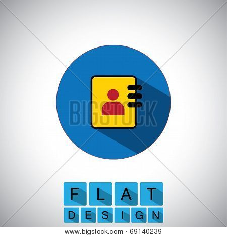 Flat Design Icon Of Identity Card For Employees - Vector Graphic