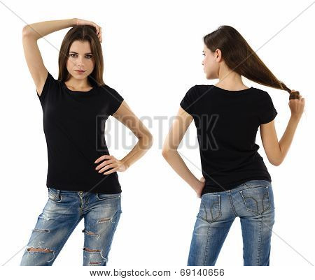Sexy Woman With Blank Black Shirt And Jeans