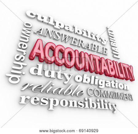 Accountability 3d word background with terms such as answerable, ownership, commitment, duty, obligation, reliability and responsibility