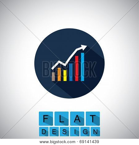 Flat Design Icon Of Rising Graph With Up Arrow - Vector Graphic