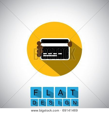 Flat Design Icon Of Person With Credit Card Or Debit Card - Vector Graphic