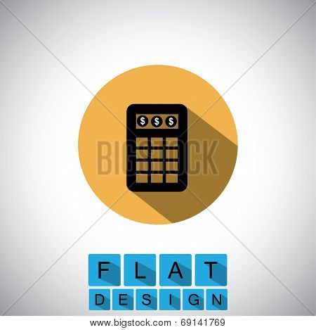 Flat Design Icon Of Calculator For Business - Vector Graphic