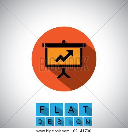 Flat Design Icon Of Arrow Graph On Board - Vector Graphic