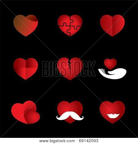 Heart & Love Vector Icons Collection Indicating Romance, Passion