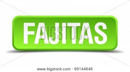 Fajitas Green 3D Realistic Square Isolated Button