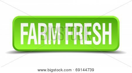 Farm Fresh Green 3D Realistic Square Isolated Button