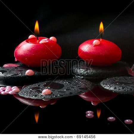 Spa Concept Of  Red Candles And Pearl Beads On Zen Stones With Drops, Reflection Water