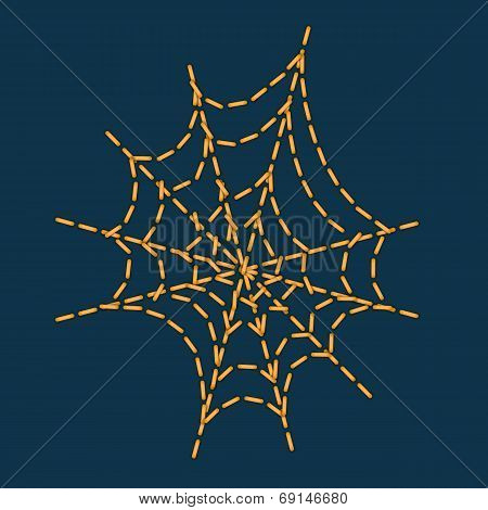 Stitching As Cobweb Shape For Halloween Holiday Decoration.vector.