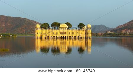 landscape with jal mahal palace on lake in Jaipur India