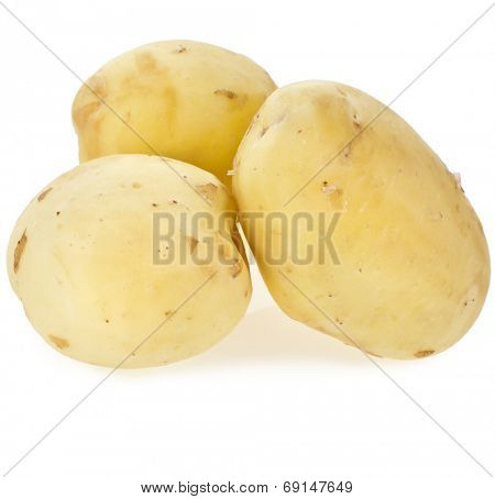 Three skinless potato tuber isolated on white background cutout