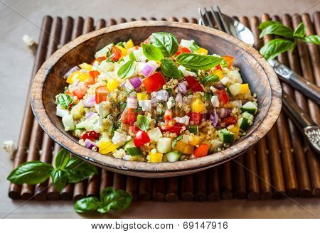 Quinoa salad with cucumber,tomato and feta