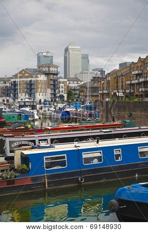 LONDON, UK - 3 JUNE 2014: Limehouse basin in the centre of London, private bay for boats and yatches