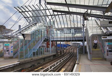 LONDON, UK - JUNE 3, 2014: Canary wharf DLR station, business and banking aria