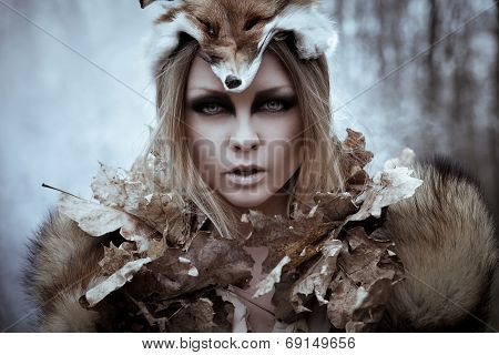 Wild beauty tribal woman in forest