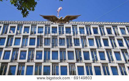 LONDON, UK - JUNE 3, 2014: USA embassy in London