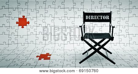 Director chair on jigsaw puzzle background -including clipping path