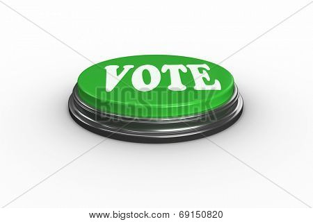 The word vote on digitally generated green push button