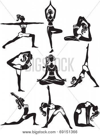 Set of meditating and doing yoga poses