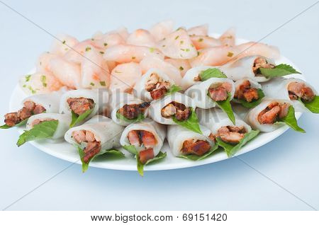 Shrimp And Grilled Pork In Glutinous Tapioca Flour Dumpling, Banh Bot Loc, Vietnamese Cuisine