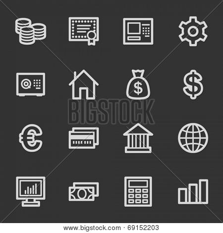 Money web icons, grey set