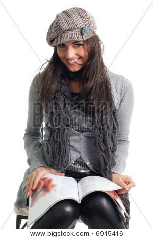 Stylish Young Woman Read Magazine