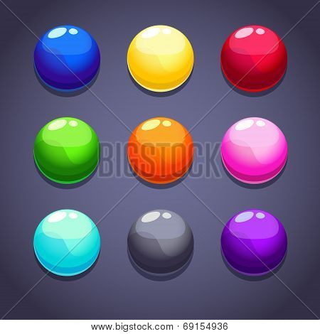Color bubbles\balls set on the dark background