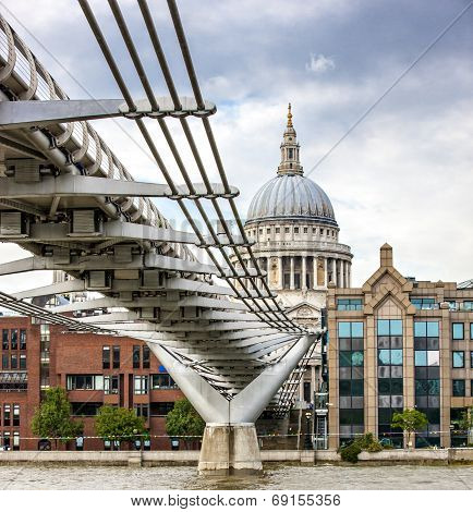 London Millennium Bridge And St Paul's Cathedral