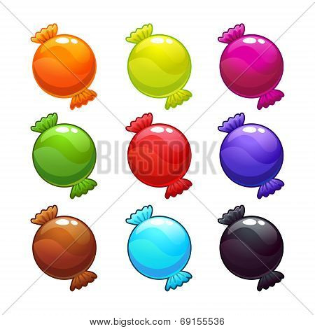 Cute round candies in different colors