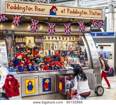 Paddington Bear Stand At Paddington Station London