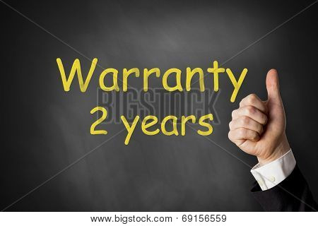 Thumbs Up Warranty Two Years Chalkboard
