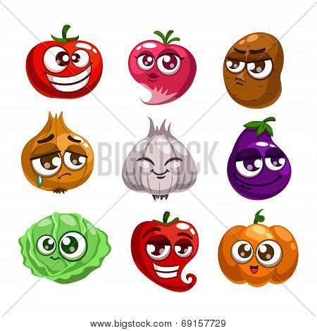 Cartoon vegetables characters
