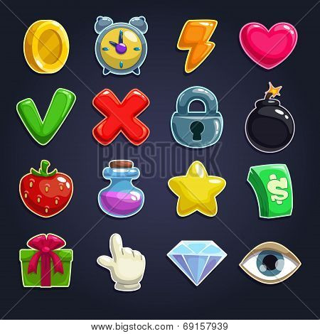 Cartoon icons for game user interface