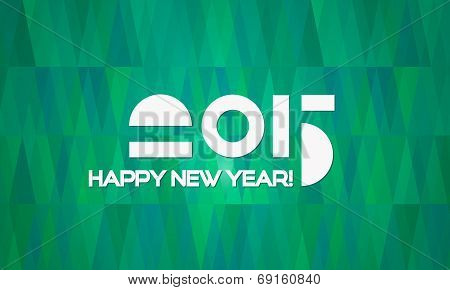 Abstract Minimalistic Happy New Year 2015 Banner with Green Geometric Christmas Trees Background