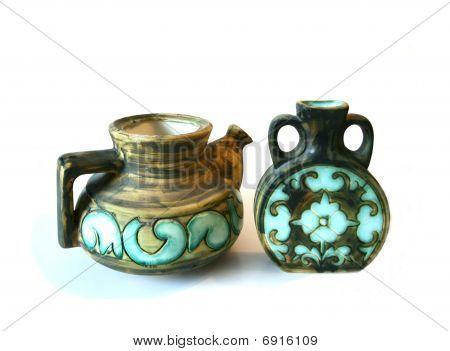Couple Of A Teapot And A Vase Isolated On White