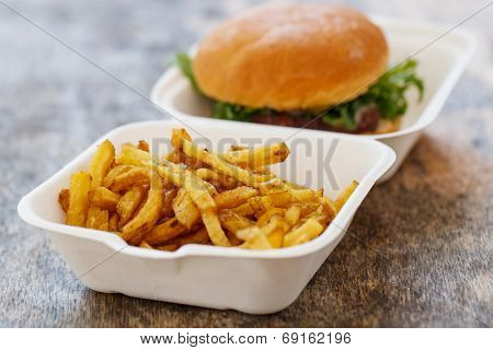 Fastfood, unhealthy. Tasty burger with fries on the table