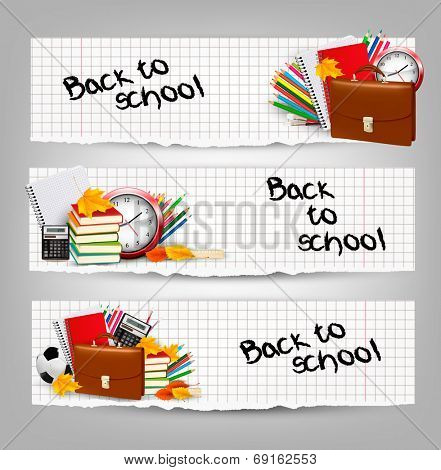 Back to school. Three banners with school supplies and autumn leaves. Vector.