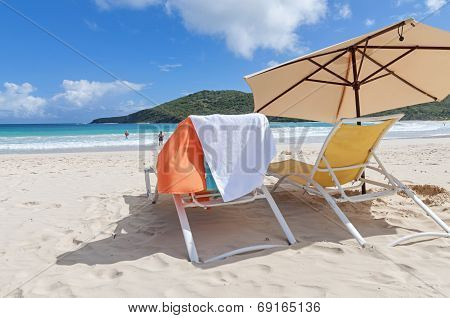 Lounge Chairs At Flamenco Beach