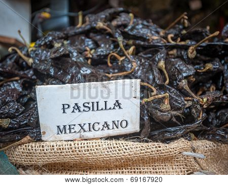 Pasilla Chili In Oaxaca Market, Mexico