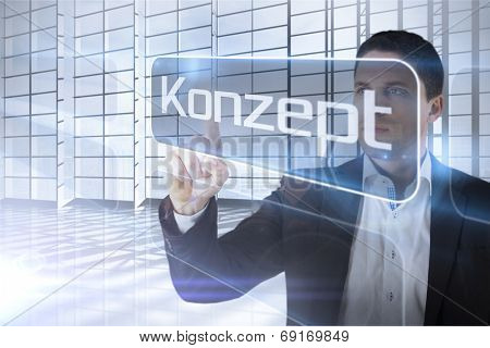 Businessman presenting the word concept in german against room with large window overlooking city