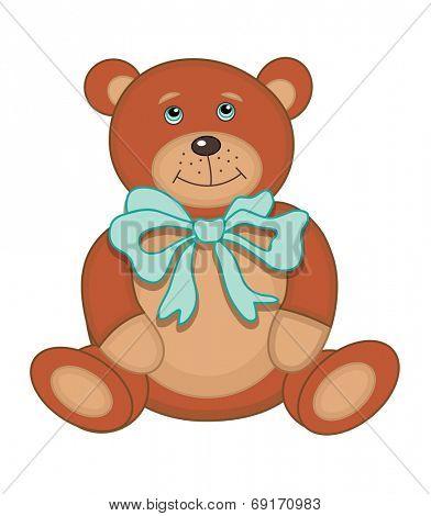 Cute plush toy teddy bear (vector illustration)