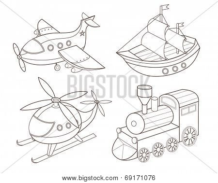 set of transport toys (vector illustration)